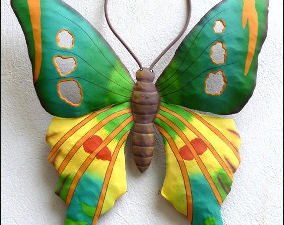 Butterfly Wall Art, Painted Metal Wall Decor, Outdoor Garden Art, Painted Garden Decor, Metal Wall Hanging, Butterfly Metal Art, 108-T-Y