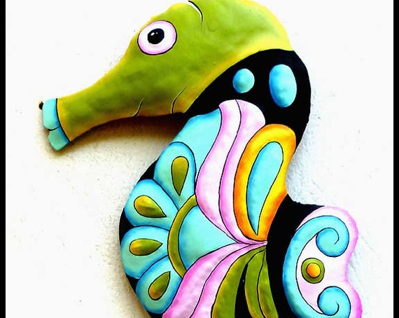 "Outdoor Garden Art, Painted Metal Seahorse, 34"" Wall Hanging -Metal Art, Tropical Garden Decor - Garden Art-  Metal Wall Art - M601-PAS -34"