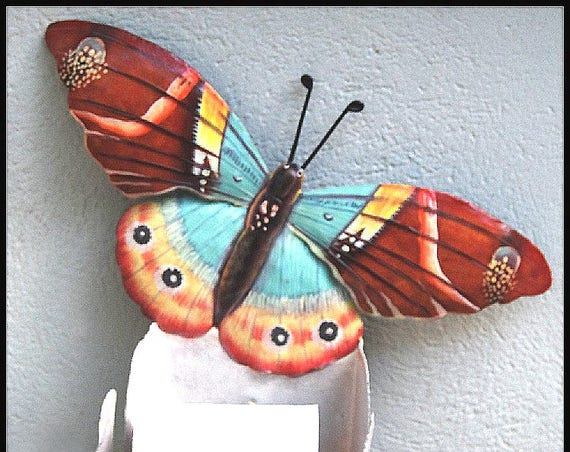 Hand Painted Metal Butterfly Toilet Paper Holder, Bathroom Decor, Toilet Tissue Holder, Tropical Metal Art, Butterfly Art,  516-BR-TP