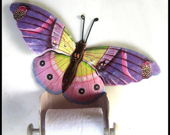Hand Painted Metal Butterfly Toilet Paper Holder, Bathroom Decor, Toilet Tissue Holder, Tropical Metal Art, Butterfly Art, 516-PU-TP