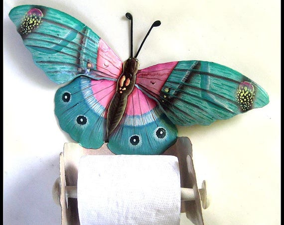 Butterfly Toilet Tissue Holder, Bathroom Decor, Hand Painted Metal Art, Toilet Tissue Holder, Tropical Metal Art, Butterfly Art, 516-AQ-TP