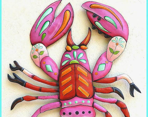 Painted Lobster, Metal Wall Hanging, Outdoor Garden Art, Metal Art, Metal Wall Art, Nautical Art, Haitian Art, Patio Decor, J-936-PK-33