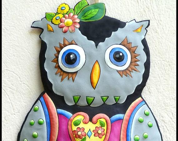 Painted Metal Grey Owl, Metal Wall Hanging, Garden Decor, Garden Art, Metal Wall Art, Haitian Art, Children's Room Decor - J-350-GR