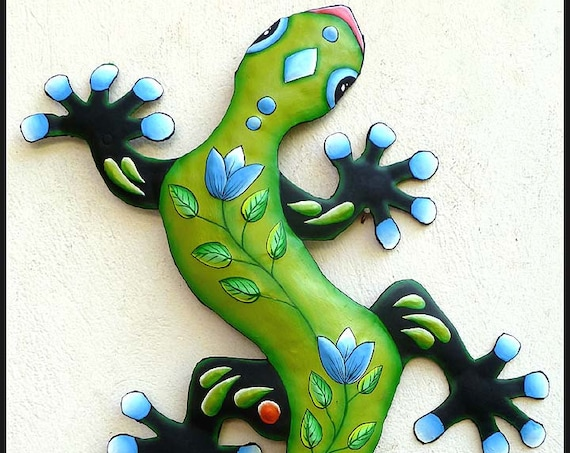 Painted Metal Gecko Garden Art, Outdoor Metal Art, Gecko Art, Gecko Decor, Metal Wall Art, Metal Wall Hanging, Tropical Art, J-425-GR-BL