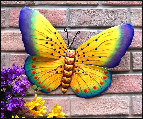 """Decorative Butterfly Art, Outdoor Metal Art, Painted Butterfly Wall Decor, Garden Art, Garden Decor, 16"""" - BU-511-16-Y"""