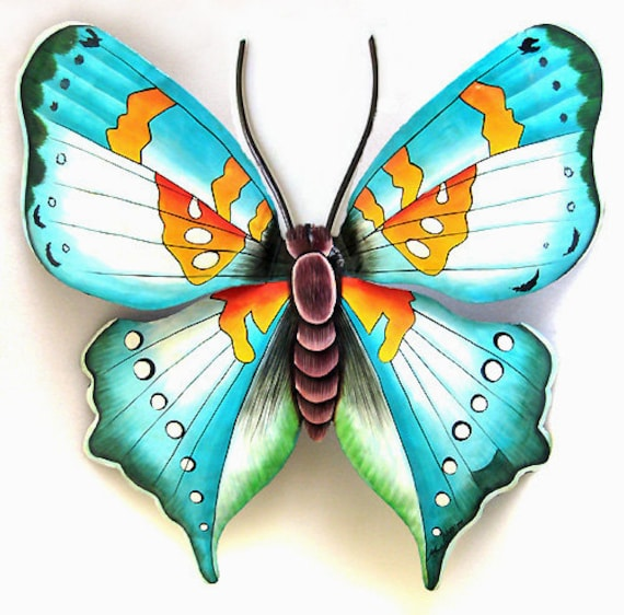 Outdoor Metal Wall Art Butterfly Metal Wall Decor Painted Metal Butterfly Wall Hanging Butterfly Wall Art Butterfly Art Bu513 L Aq