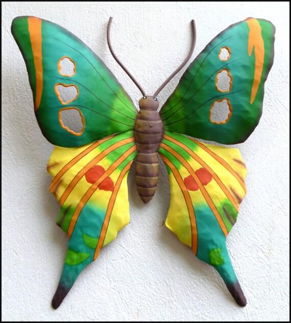 """Painted Butterfly metal wall art, Butterfly Wall Art, Metal Butterfly Art, Garden Art, Painted Metal Art, Garden Decor, 21"""" RL-108-TQ-YL"""