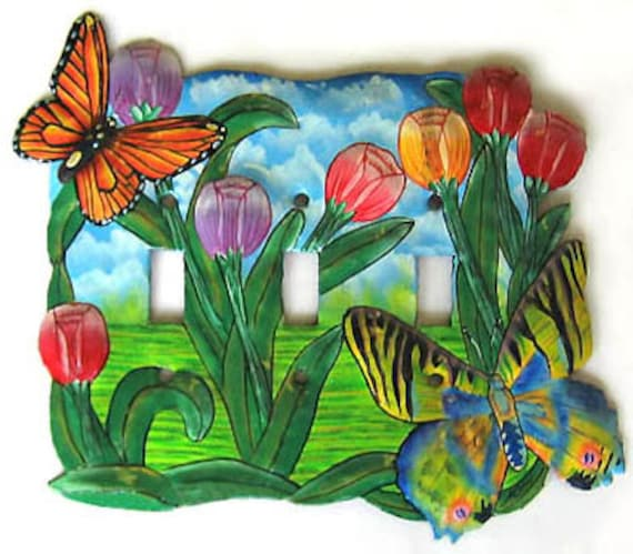 Butterfly Switchplate Covers, Painted Metal, Switch Cover, Switchplates, Light Switch Cover, Switch-Plate,Switch Plate Covers, S-1039-3