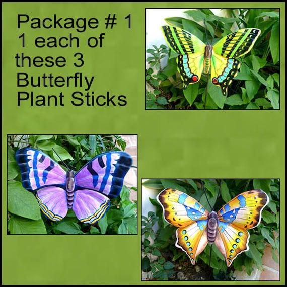 Garden Art - Metal Butterfly Plant Stakes,  Set of 3 Plant Sticks,  Outdoor Garden Decor, Yard Art, Garden Stake, Garden Markers, PS-Pkg - 1