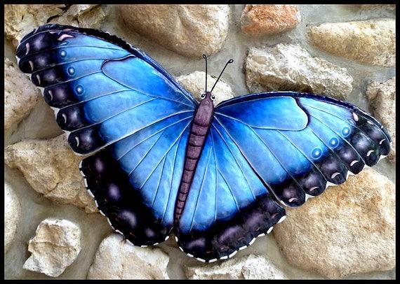 """Butterfly Metal Wall Art, Metal Butterfly, 36"""", Butterfly Decor, Painted Metal, Garden Decor, Outdoor Metal Art, Garden Art, BU-601-36"""