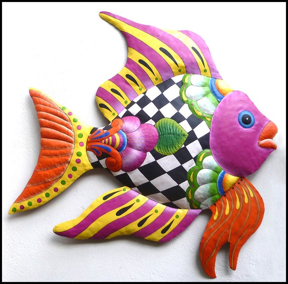 "TROPICAL FISH, Painted Metal, Metal Wall Art, Outdoor Metal Art, Wall Hanging, Recycled Steel Drum, Garden Art, Metal Art, 35"" - M-802-PK-34"