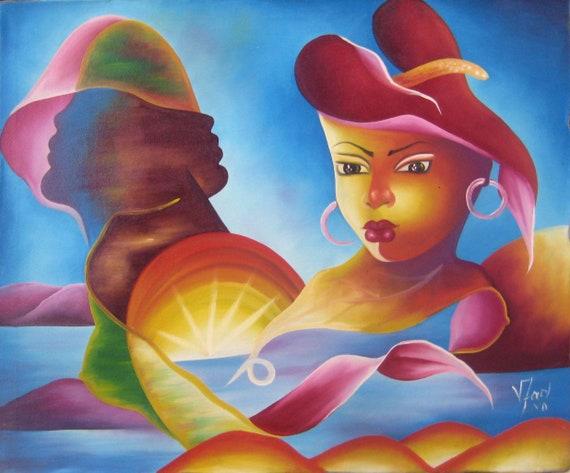 Haitian Painting, Canvas Painting, Haitian Art, Haitian Woman, Original Painting, Canvas Wall Art, Art of Haiti, Canvas Art, 20 x 24