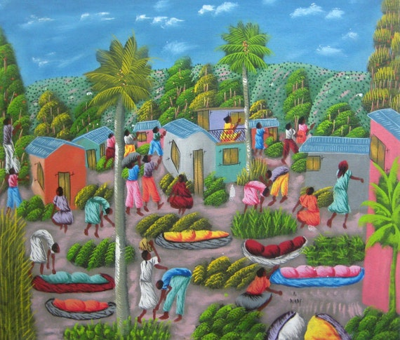 "Haitian Painting, Haitian Art, Art of Haiti, Original Painting, Canvas Painting, Canvas Art, Caribbean Art, Canvas Wall Art,  20"" x 24"""