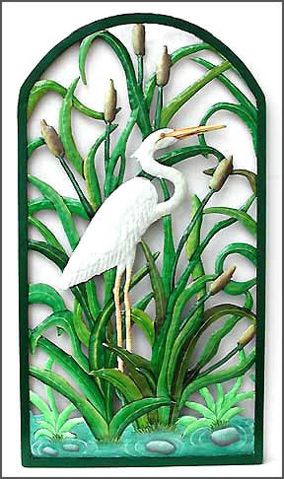 "Painted Metal White Egret Wall Art, Tropical Wall Decor - Garden Decor, Metal Art - Metal Wall Art, Outdoor Metal Art, - 21"" x 38""  K- 7323"