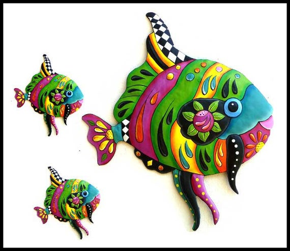 TROPICAL FISH, Painted Metal Art Wall Hanging, Whimsical Art, Funky Art, Garden Decor, Outdoor Garden Art, Tropical Metal Wall Art, J-450GR3