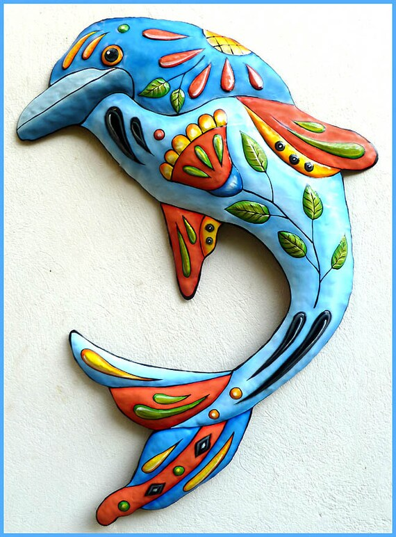 Painted Metal Dolphin Wall Hanging, Metal Decor, Outdoor Metal Art, Poolside Decor, Beach Decor, Metal Wall Art, Nautical Decor, J-458-BL