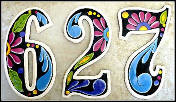 "1 House Number - 7 1/2"" Hand Painted Metal Address Numbers, Haitian Recycled Steel Drum, Painted Metal Art, Redecorating Idea - AD-100-7-BK"