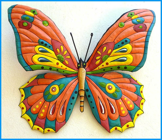 Decorative Butterfly Metal Art, Painted Metal Butterfly, Butterfly Wall Hanging, Metal Wall Decor, Metal Wall Art, Garden Art J903-OR