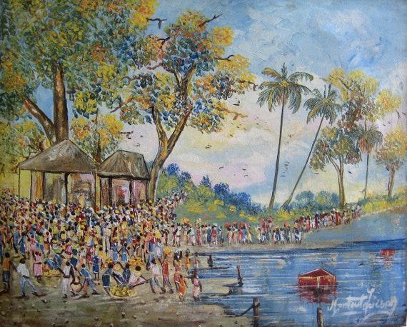 Canvas Painting, Haitian Painting, Haitian Art, Original Painting, Canvas Wall Art, Art of Haiti, Canvas Art, 16 x 20
