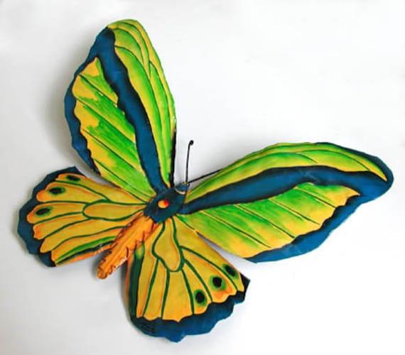 """Handcrafted metal butterfly, Butterfly Wall Art, Outdoor Garden Art, Painted Garden Decor, Metal Wall Hanging, 8"""" - 503-MW-GR"""