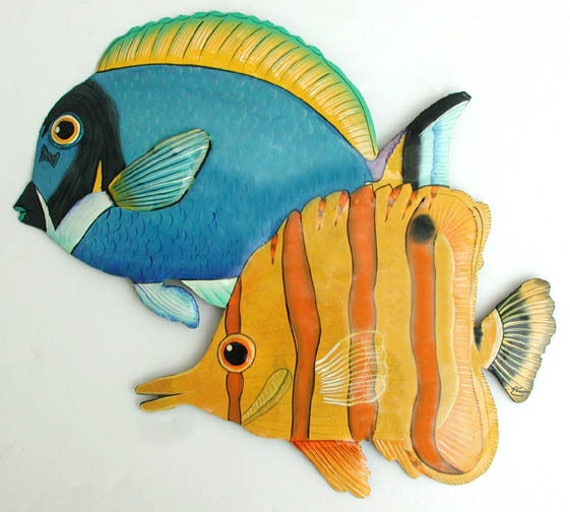 "TROPICAL FISH Painted Metal Wall Hanging, 14"" Fish, Metal Wall Art, Beach Decor, Tropical Decor, Garden Art, Outdoor Garden Decor - K-183"
