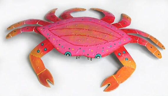 Crab Wall Decor, Nautical Art, Tropical Metal Wall Hanging, Crab, Painted Metal Art, Outdoor Garden Decor, Wall Art, Beach Decor, RXXL-107PK