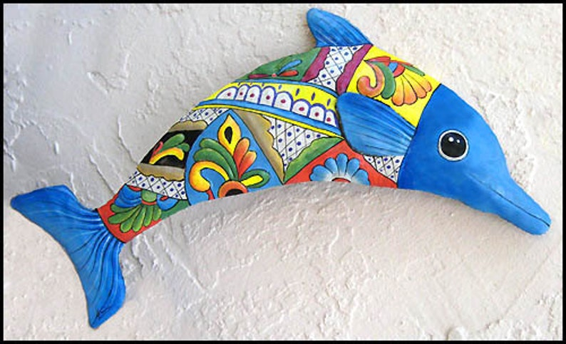 Colorful Metal Dolphin Wall Art
