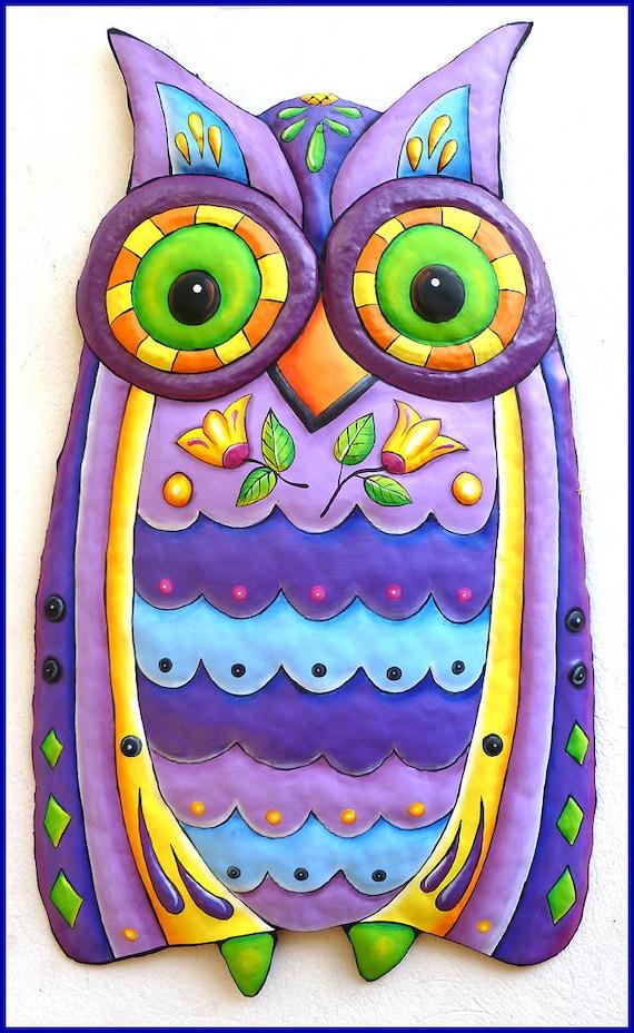 Metal Art Owl Wall Hanging, Owl Decor, Garden Decor, Metal Wall Art, Garden Art, Painted Metal Art, Wall Art, Metal Wall Decor - J-351PU