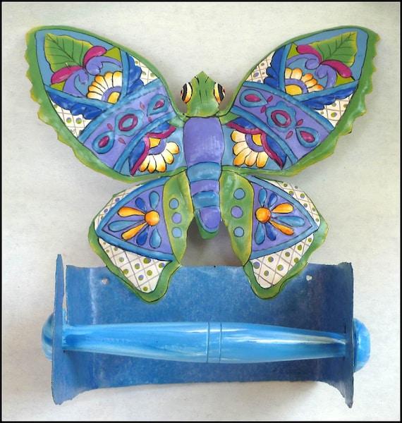 Butterfly Design Toilet Paper Holder, Toilet Tissue Holder, Butterfly Art, Painted Metal Art, Butterfly- Bathroom Decor -  M-900-BL-TP