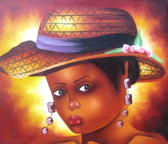 "Haitian Painting, Canvas Painting, Haitian Art, Art of Haiti, Original Painting, Canvas Art, Caribbean Art, Canvas Wall Art,  20"" x 24"""
