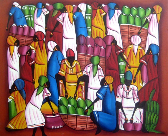 "Haitian Painting - Haitian Market Scene - Haitian Art - Hand Painted Canvas Painting - Original Art of Haiti - 20"" x 24"""