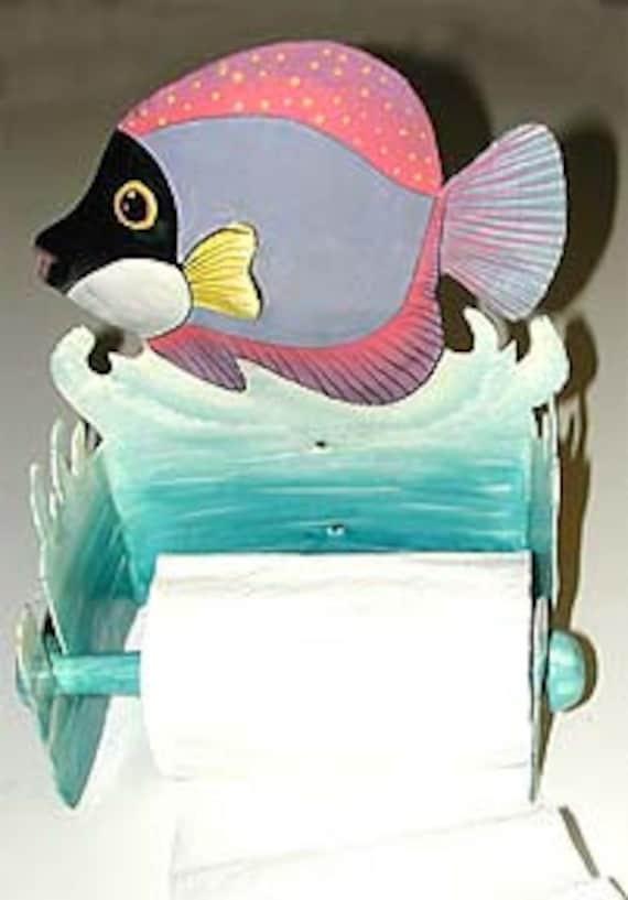 TOILET PAPER holder, Hand Painted Metal Tropical Fish - Metal Art - Tropical Bathroom Decor -  Recycled Steel Drum Art of Haiti - 7120 -TP