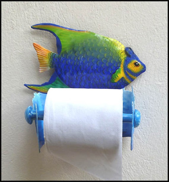 Toilet Tissue Holder, Painted Metal Tropical Fish, Toilet Paper Holder, Tropical Fish, Bathroom Decor, Tropical Decor, Metal Art, 7231 -TP