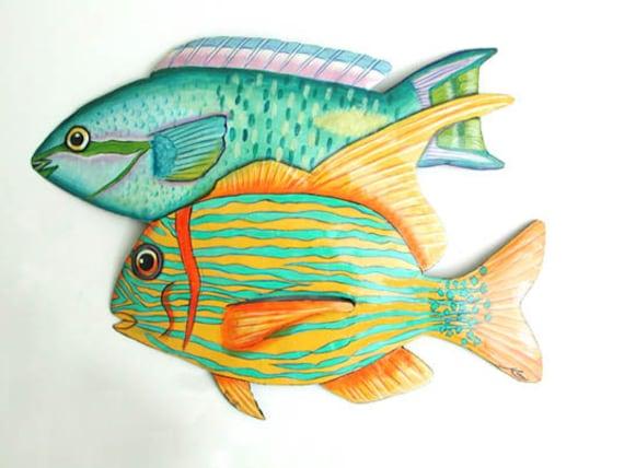 "TROPICAL FISH Metal Wall Art, Wall Hanging, 14"" Fish, Painted Metal Art, Beach Decor, Tropical Decor, Garden Art, Garden Decor - K-182"