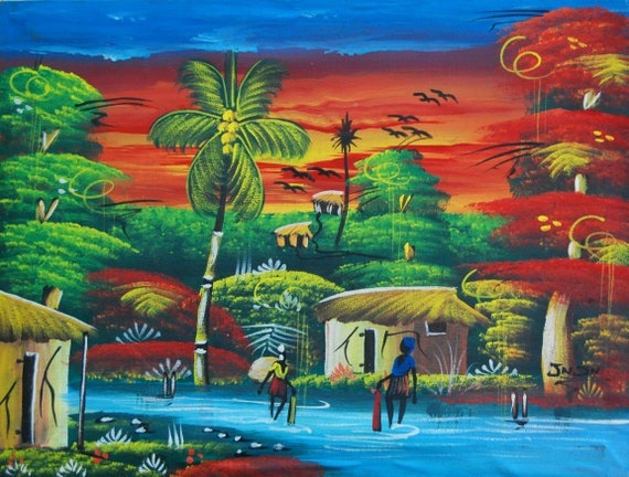 "Haitian Painting, Canvas Painting, Haitian Art, Art of Haiti, Original Painting, Canvas Art, Caribbean Art, Canvas Wall Art,  20"" x 24"""