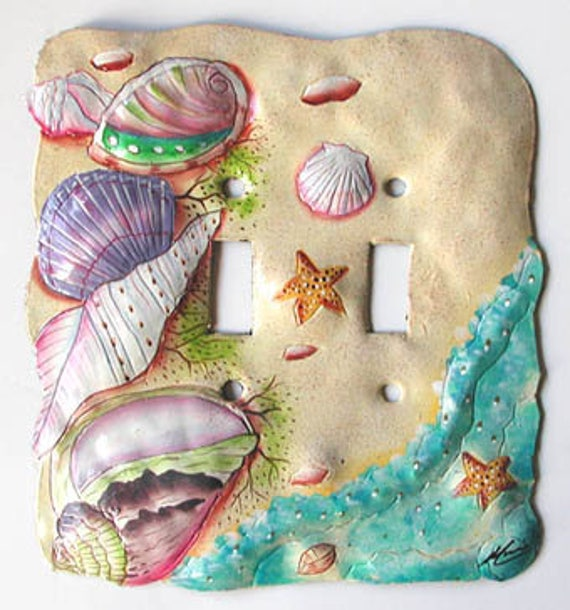 Switchplate Covers, Double Light Switch, Hand Painted Metal, Seashells, Switch Plate Cover, Haitian Art, Steel Drum, Painted Metal, S-1028-2