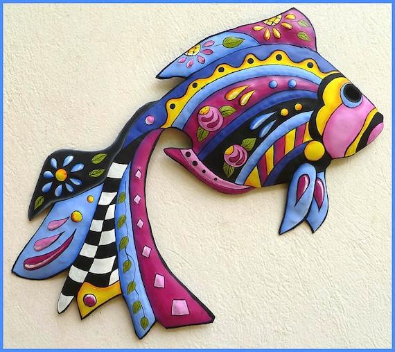 TROPICAL FISH Wall Art,  Hand Painted Metal, Metal Wall Art, Tropical Decor, Outdoor Metal Art, Haitian Art, Garden Decor, J-451-BL-24