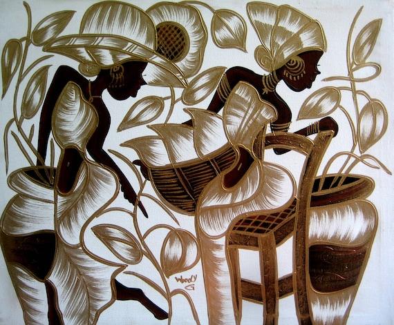 Art of Haiti, Canvas Painting, Haitian Painting, Haitian Art, Original Painting, Canvas Wall Art, Canvas Art, 20 x 24