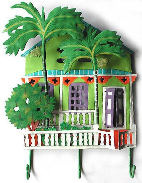 Metal Wall Hook, Metal Art, Caribbean House Home Decor - Metal Hook, Painted Metal Tropical Art Design - Outdoor Garden Decor - K-1001-GR-HK