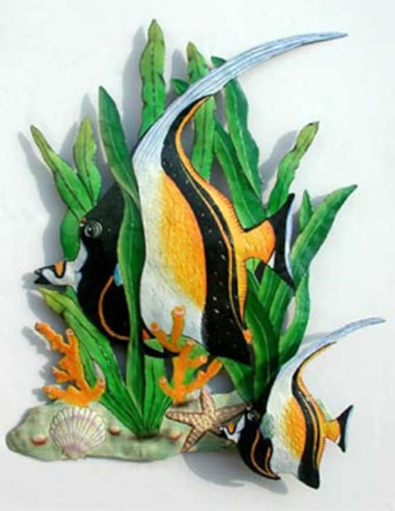 TROPICAL FISH Metal Art, Metal Wall Hanging, Hand Painted Metal Tropical Decor, Outdoor Metal Art, Fish Design, Wall Art, Haitian Art, K175