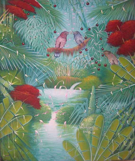 Canvas Painting, Haitian Painting, Haitian Art, Birds, Original Painting, Canvas Wall Art, Art of Haiti, Canvas Art, 20 x 24