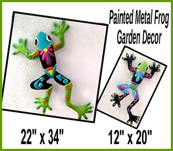 Frog Metal Wall Hanging, Outdoor Garden Art, Painted Metal Art, Metal Wall Art, Metal Wall Decor, Frog Art Combo, M703-TQ-OR -Combo2