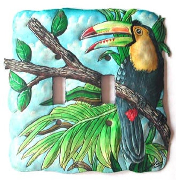 Parrot Light Switch Cover, Hand Painted Metal Toucan Parrot, Double Switch Plate Covers, Light Switch Plate, Switchplate Covers, S-1020 -2