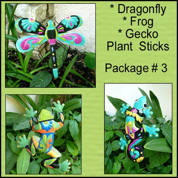 Painted Metal Garden Plant Sticks, Set of 3, Garden Decor, Plant Stake, Haitian Metal Art, Garden Art, Plant Stakes, Yard Art, PS-Pkg - 3