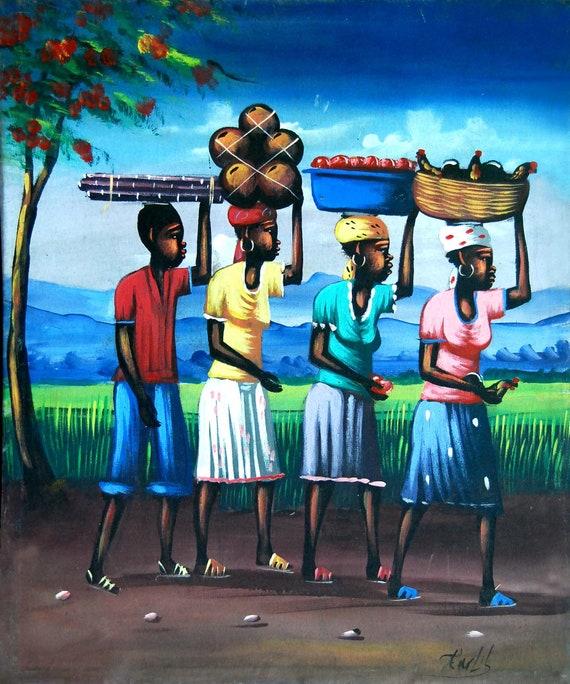 "Haitian Painting, Canvas Art, Haitian Art, Canvas Wall Art, Art of Haiti, Canvas Painting, Original Painting, Hand Painted Art,  20"" x 24"""