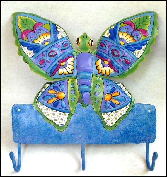 Painted Metal Butterfly Wall Hook, Decorative Bathroom Decor - Metal Butterfly Towel Hanger - Haitian Recycled Steel Drum Art - M-900-BL-HK