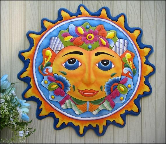Metal Sun, Tropical Decor, Sun Wall Hanging, Outdoor Metal Art, Painted Metal Wall Hanging, Pool Decor, Garden Art -  M-100-LBL