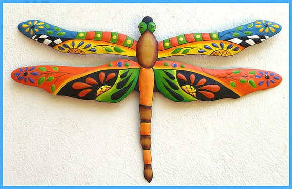 DRAGONFLY, Metal Art, Painted Metal Dragonfly Wall Hanging, Tropical Wall Decor, Outdoor Garden Decor - Outdoor Metal Wall Art, J-935-OR