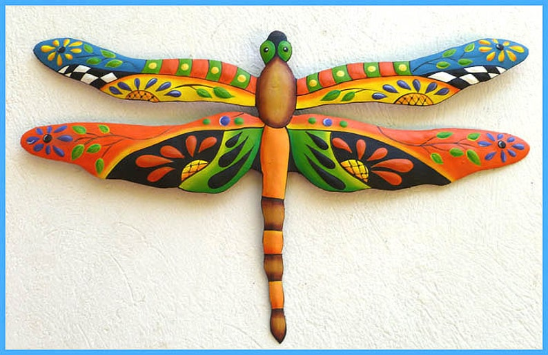 Metal Wall Hanging Metal Art Dragonfly Painted Metal Dragonfly Tropical Wall Decor Outdoor Garden Decor Metal Wall Art J 935 Or