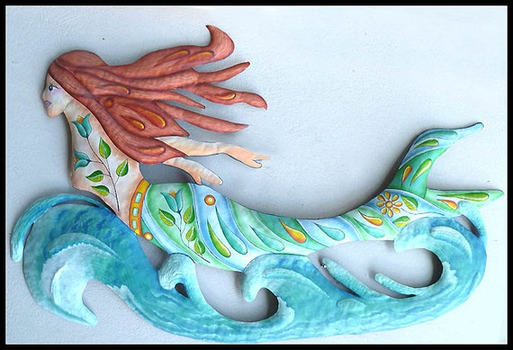 "Mermaid Metal Art, Coastal Wall Decor, Metal Wall Art, Painted Metal Wall Art, 45"", Pool Decor, Outdoor Garden Art, Haitian Art,  J-476-45AQ"
